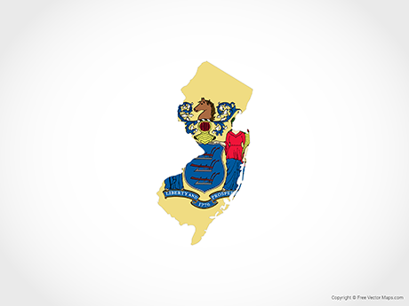 Free Vector Map of New Jersey - Flag