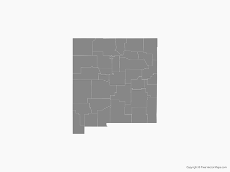 Map of New Mexico with Counties - Single Color