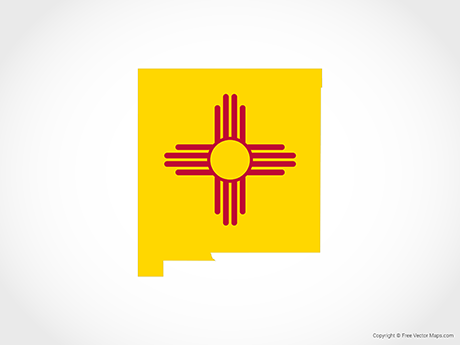 Free Vector Map of New Mexico - Flag