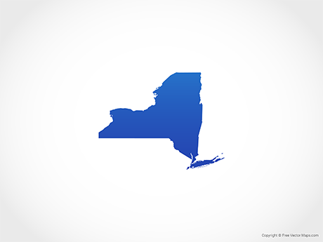 Free Vector Map of New York - Blue