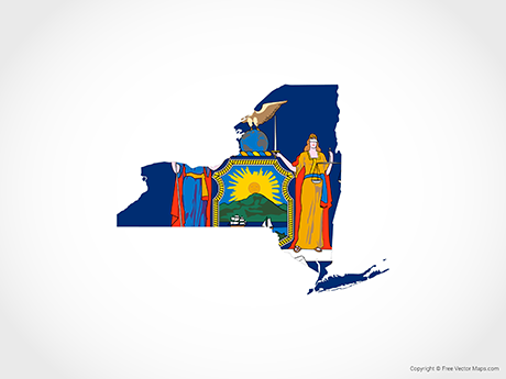 Free Vector Map of New York - Flag