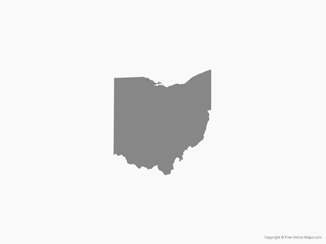 Free Vector Map of Ohio - Single Color