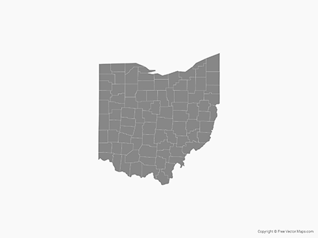 Free Vector Map of Ohio with Counties - Single Color