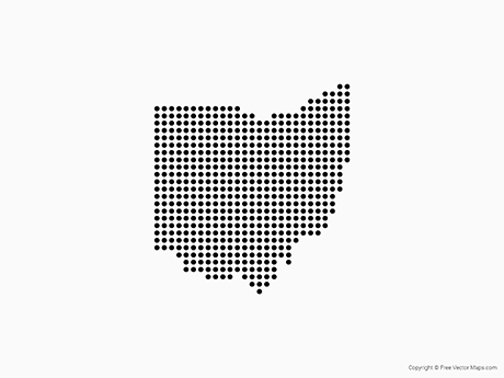 Vector Map of Ohio Dots Free Vector Maps