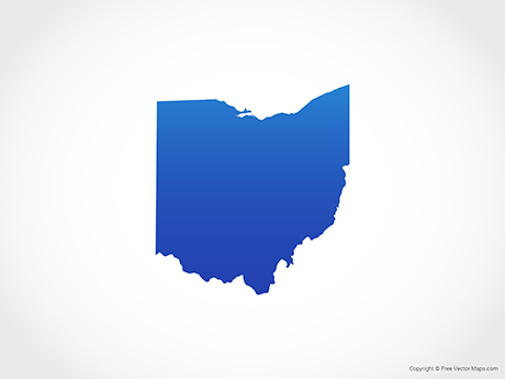 Free Vector Map of Ohio - Blue