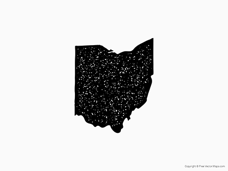 Free Vector Map of Ohio - Stamp
