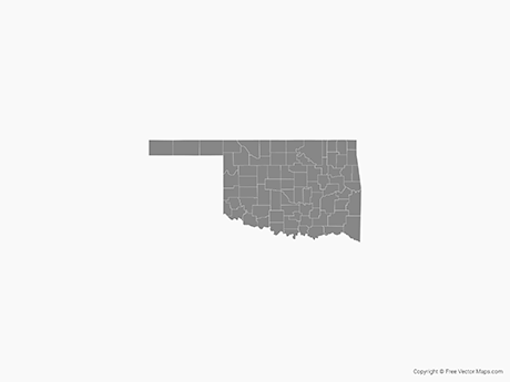 Free Vector Map of Oklahoma with Counties - Single Color