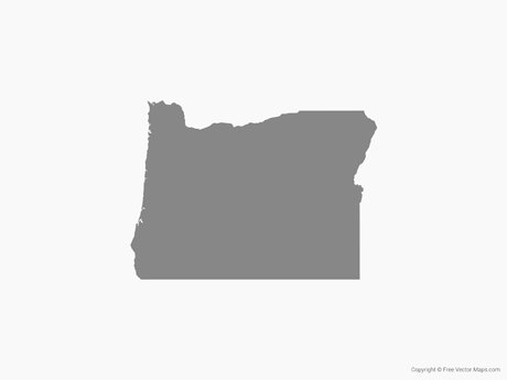 Map of Oregon - Single Color