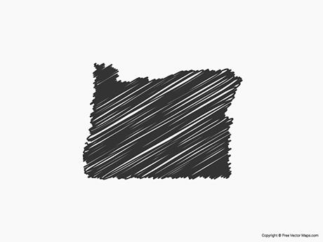 Free Vector Map of Oregon - Sketch