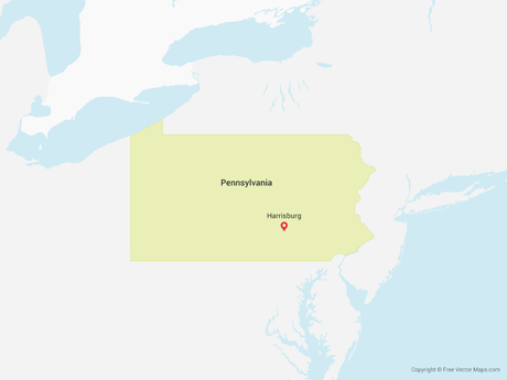 Free Vector Map of Pennsylvania