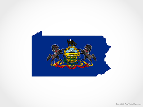 Free Vector Map of Pennsylvania - Flag