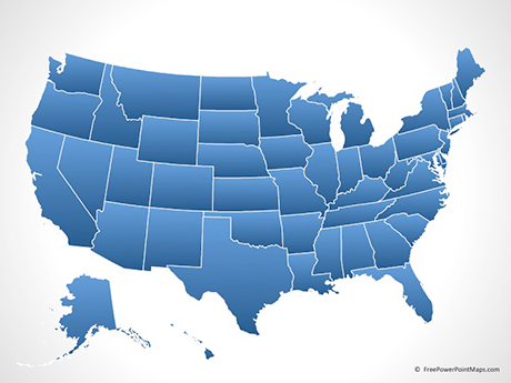 PowerPoint® Map of United States of America with States - Blue ...