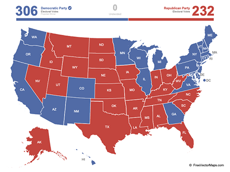 Free Vector Map of United States Electoral Votes (PowerPoint)