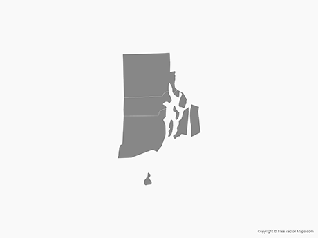 Map of Rhode Island with Counties - Single Color
