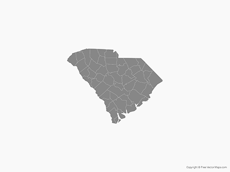 Free Vector Map of South Carolina with Counties - Single Color