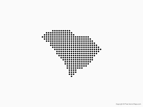 Free Vector Map of South Carolina - Dots