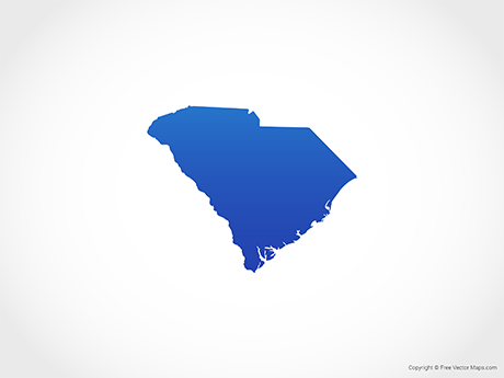 Free Vector Map of South Carolina - Blue