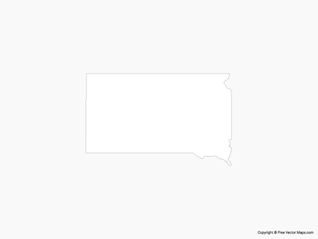 Map of South Dakota - Outline