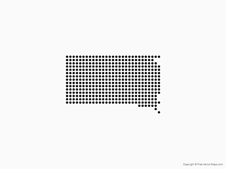 Free Vector Map of South Dakota - Dots