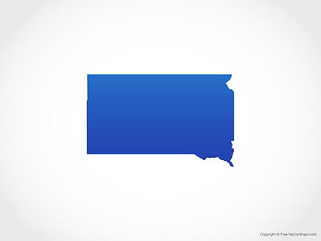 Free Vector Map of South Dakota - Blue