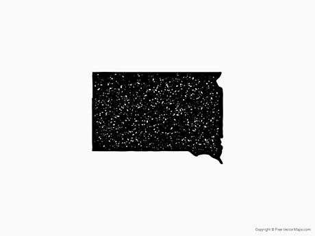 Free Vector Map of South Dakota - Stamp