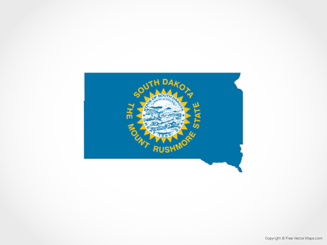 Map of South Dakota - Flag