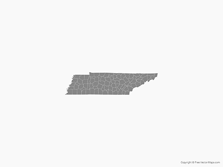 Free Vector Map of Tennessee with Counties - Single Color