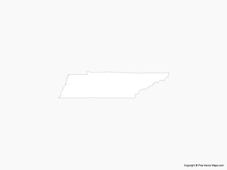 Free Vector Map of Tennessee - Outline