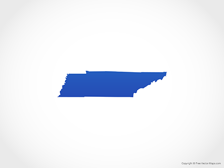 Free Vector Map of Tennessee - Blue