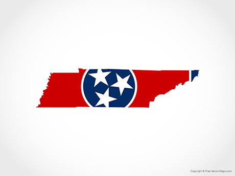 Free Vector Map of Tennessee - Flag