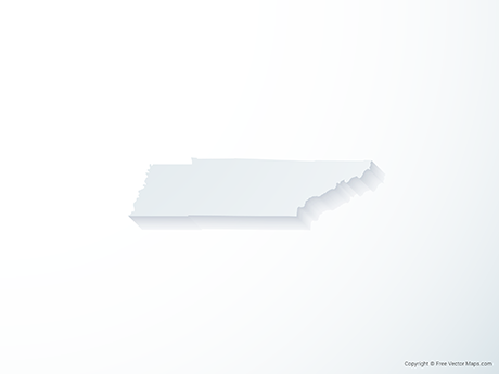 Free Vector Map of Tennessee - 3D
