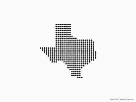 Vector Map of Texas Dots Free Vector Maps