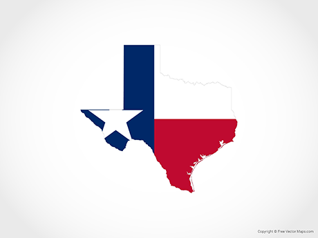 Free Vector Map of Texas - Flag