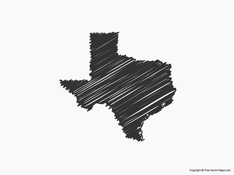 Free Vector Map of Texas - Sketch