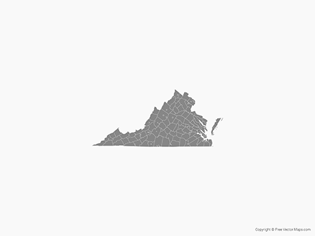 Map of Virginia with Counties - Single Color