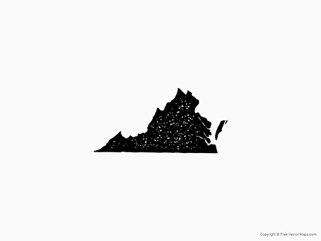 Free Vector Map of Virginia - Stamp