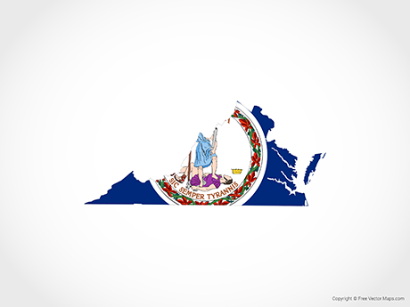 Free Vector Map of Virginia - Flag