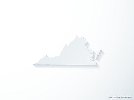 Free Vector Map of Virginia - 3D