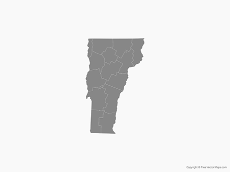Free Vector Map of Vermont with Counties - Single Color