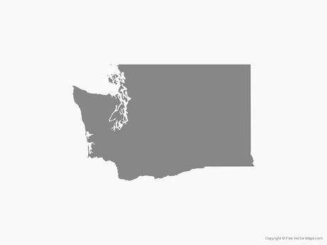 Free Vector Map of Washington - Single Color