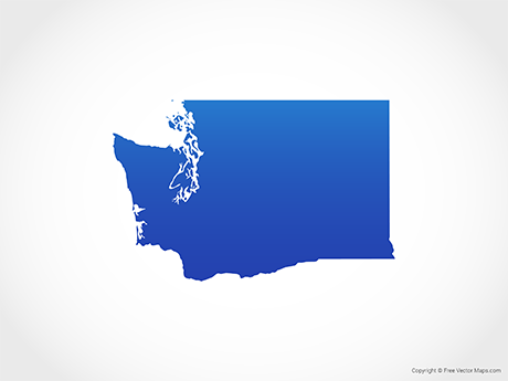 Free Vector Map of Washington - Blue
