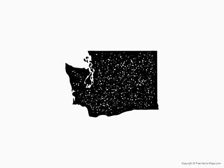 Free Vector Map of Washington - Stamp
