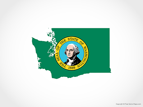 Free Vector Map of Washington - Flag