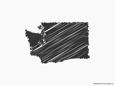 Free Vector Map of Washington - Sketch