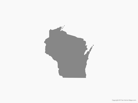 Free Vector Map of Wisconsin - Single Color