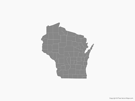 Free Vector Map of Wisconsin with Counties - Single Color