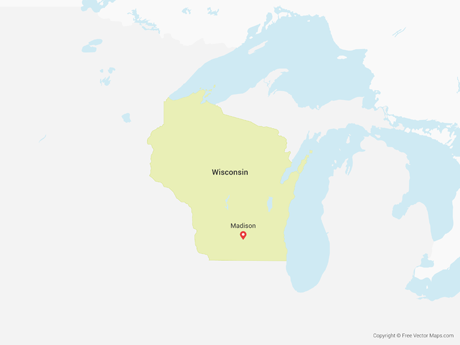 Vector Map Of Wisconsin Free Vector Maps - Wisconsin on a us map
