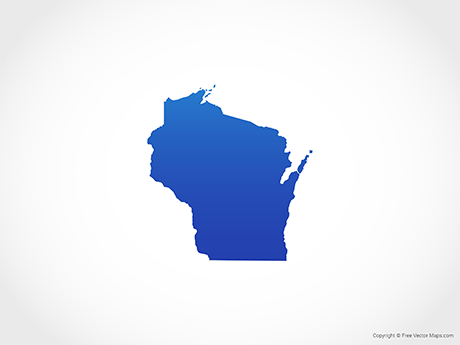 Free Vector Map of Wisconsin - Blue