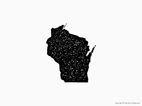 Free Vector Map of Wisconsin - Stamp