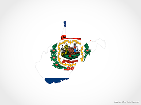 Free Vector Map of West Virginia - Flag